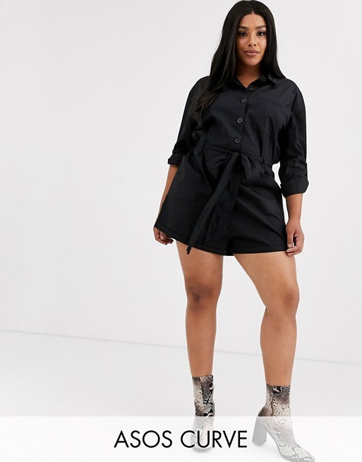 ASOS DESIGN Curve wrap front romper with long sleeves