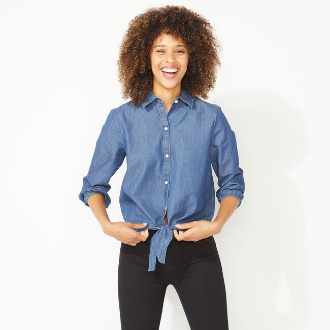 NAUTICA JEANS CO. TIE FRONT CHAMBRAY SHIRT