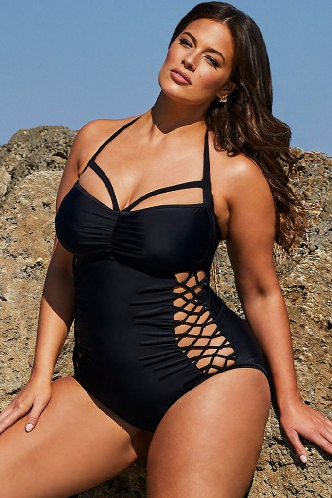 THE PLUS SIZE CRISSCROSS STRAPPY RUCHED ONE PIECE SWIMSUIT