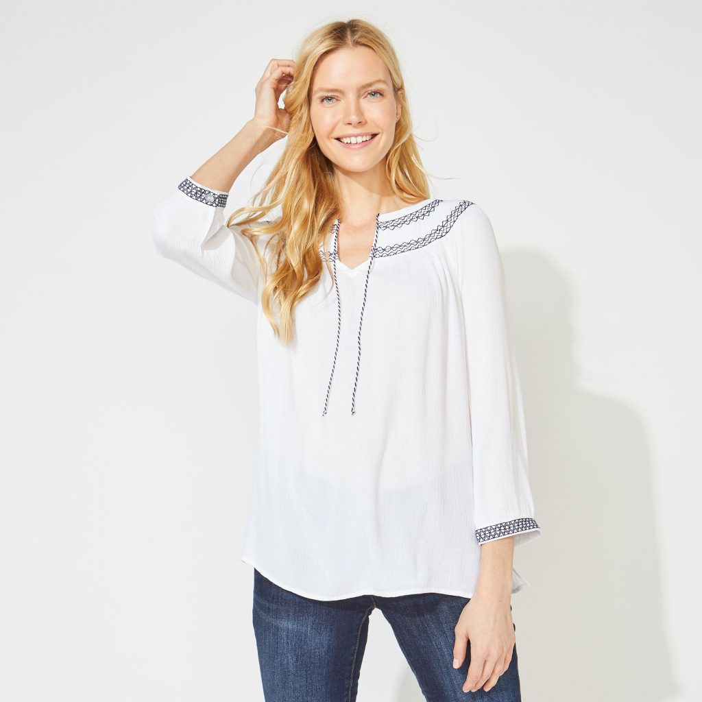 THREE-QUARTER SLEEVE EMBROIDERED TOP
