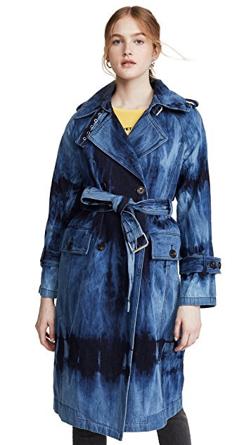 THE AVEC LES FILLES TIE DYE WASHED DENIM TRENCH