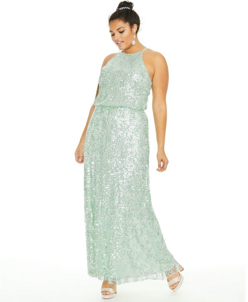THE B DARLIN TRENDY PLUS SIZE SEQUINED BLOUSON GOWN