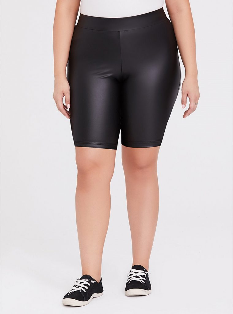 THE BLACK FAUX LEATHER BIKE SHORTS