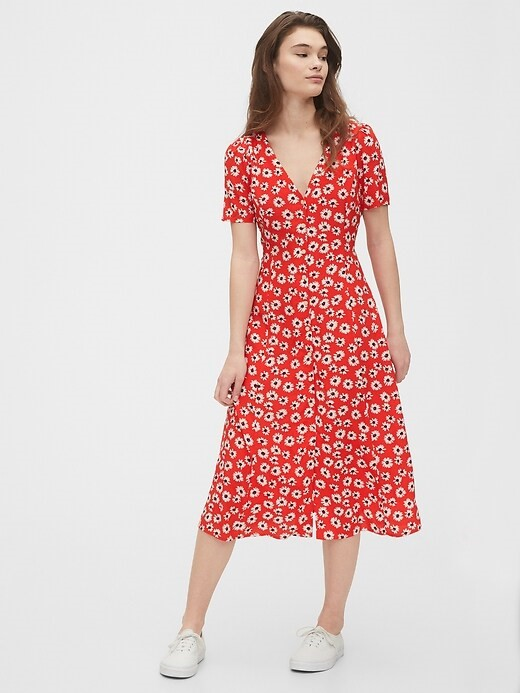 THE BUTTON-FRONT MIDI DRESS