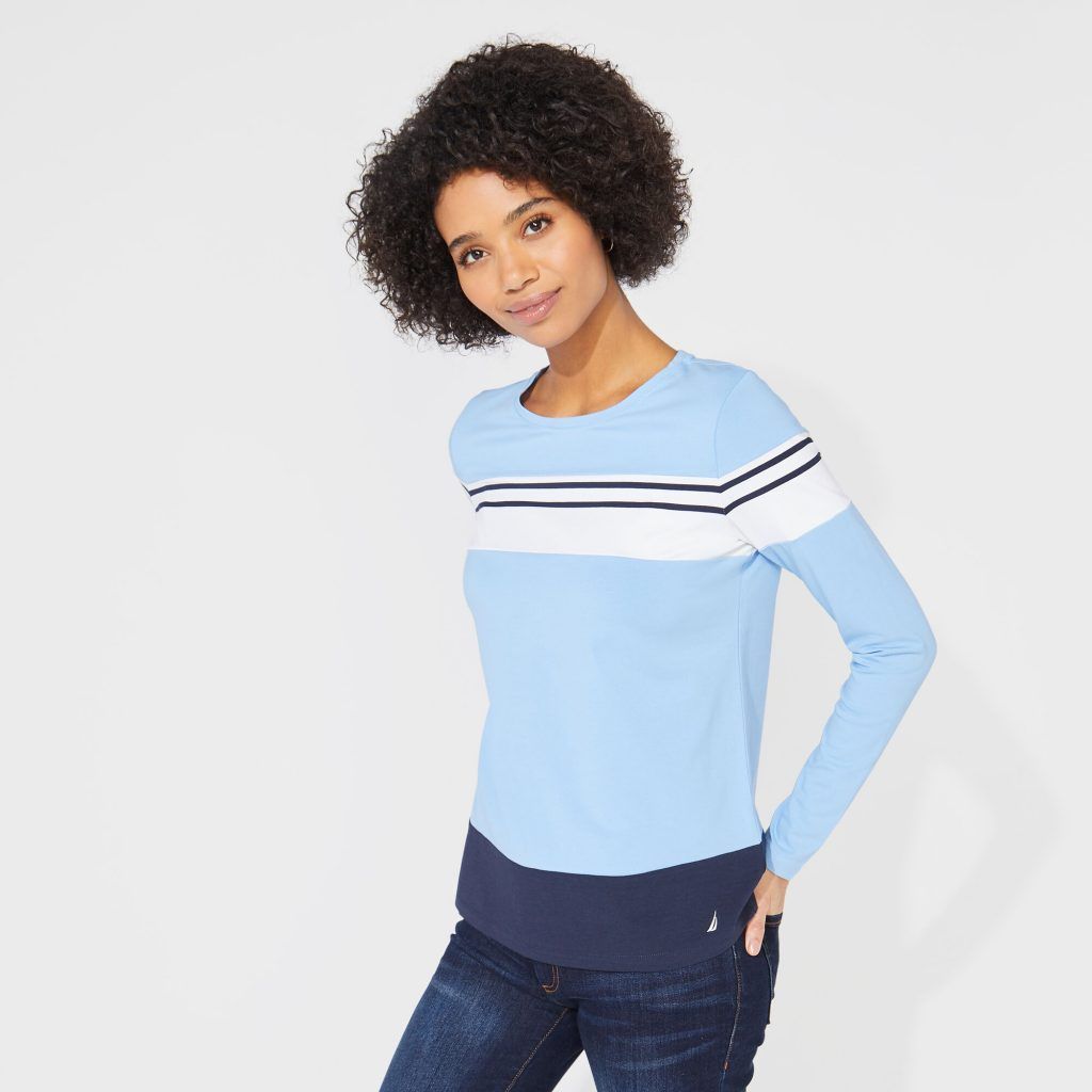 THE COLORBLOCKED STRIPED KNIT TOP