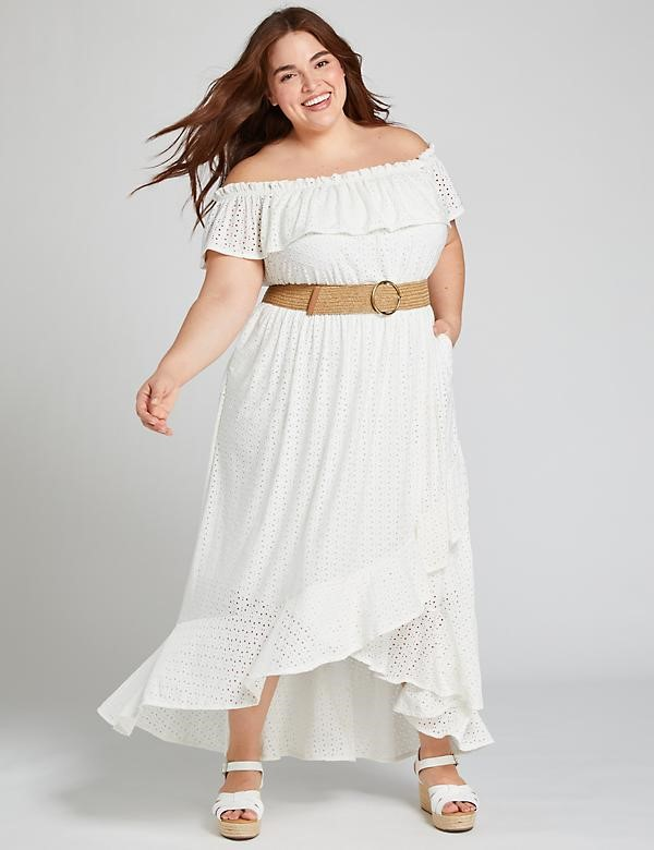 THE EYELET OFF-THE-SHOULDER MAXI DRESS