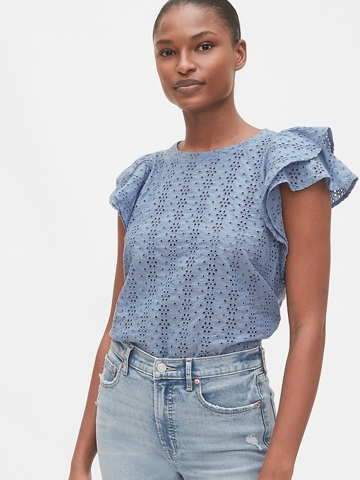 THE EYELET RUFFLE SLEEVE TOP