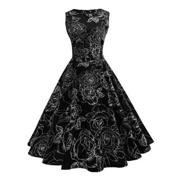 THE FLORAL PRINT RETRO PARTY DRESS
