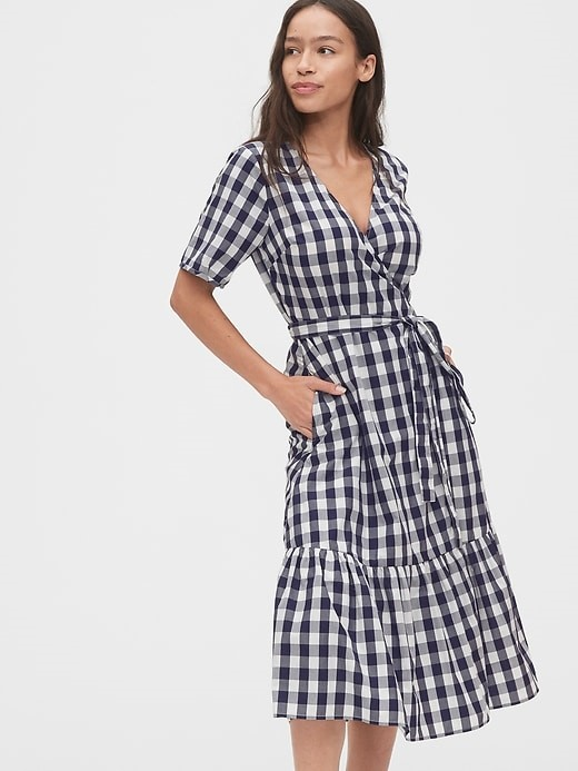 THE GINGHAM WRAP MIDI DRESS