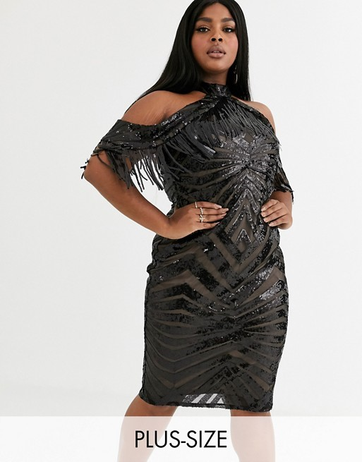 THE GODIVA PLUS COLD SHOULDER MINI DRESS WITH TASSEL DETAIL IN BLACK SEQUIN