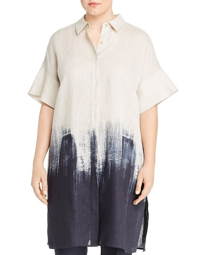THE LAFAYETTE 148 NEW YORK PLUS JASARAH LINEN OMBRE TUNIC SHIRT