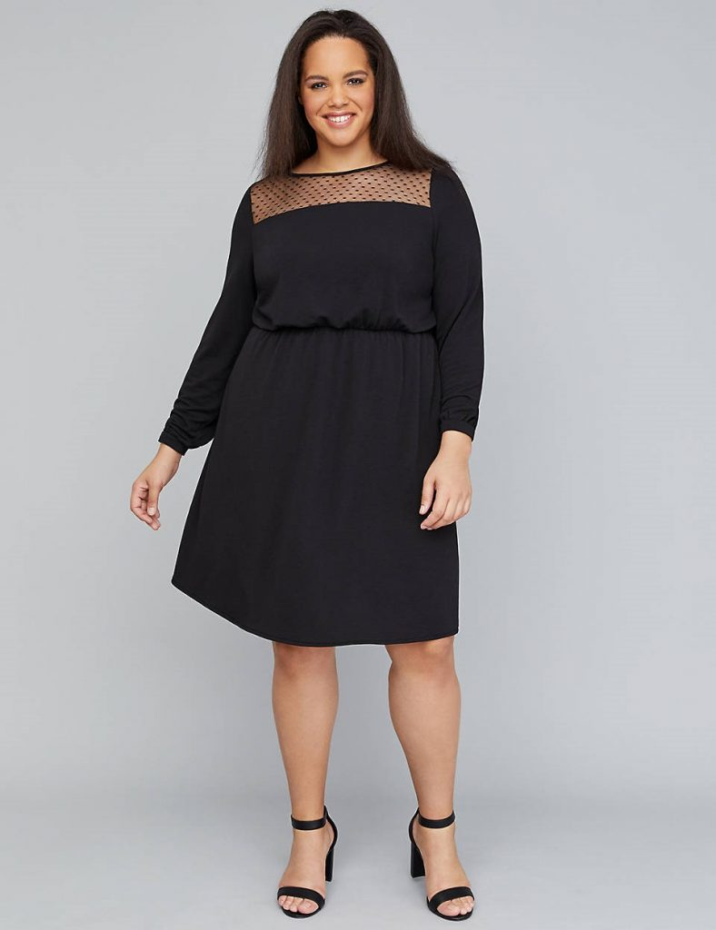 THE MESH YOKE FIT-AND-FLARE DRESS