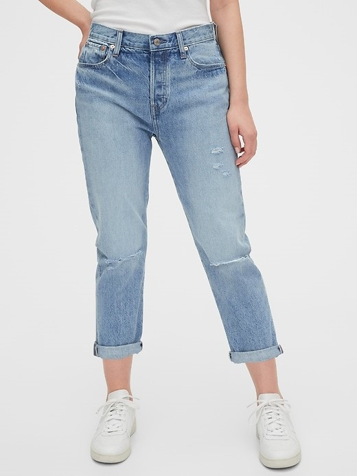 THE MID RISE DESTRUCTED BOYFRIEND JEANS