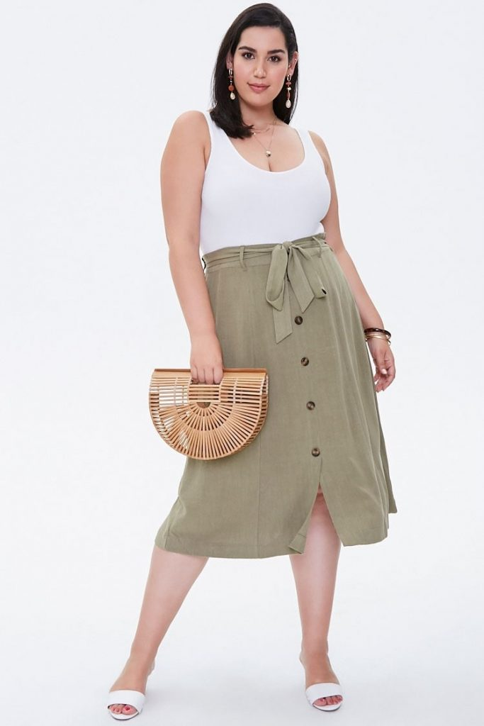 THE PLUS SIZE BELTED MIDI SKIRT