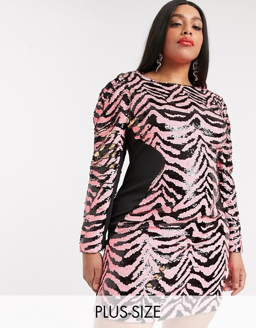 THE SIMPLY BE BODYCON ZEBRA SEQUIN DRESS
