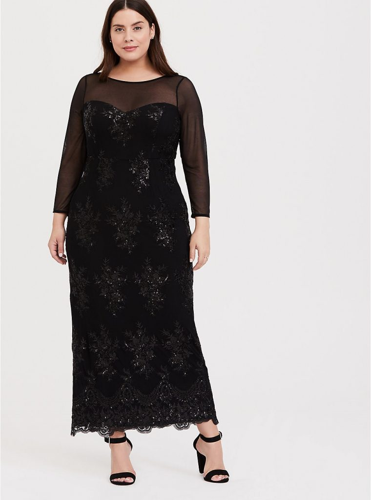 THE SPECIAL OCCASION BLACK SEQUIN AND MESH GOWN
