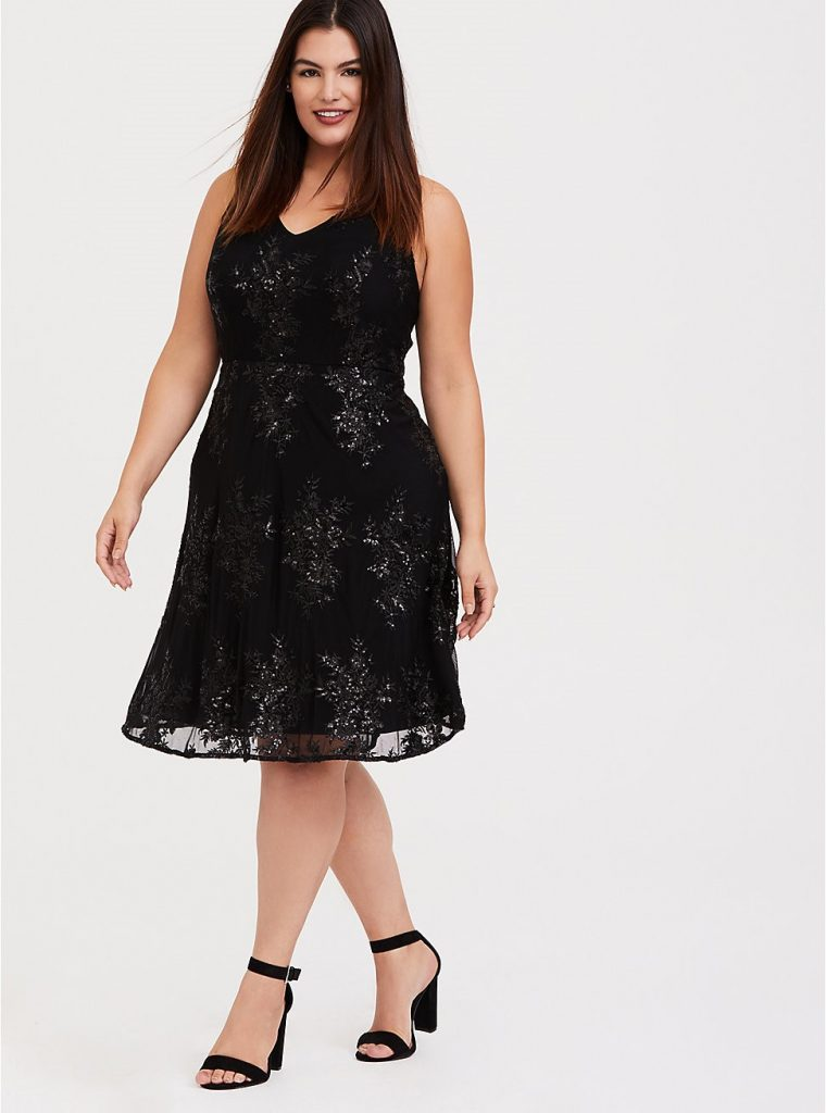 THE SPECIAL OCCASION BLACK SEQUIN SKATER DRESS