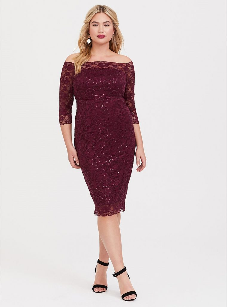 THE SPECIAL OCCASION BURGUNDY SEQUIN LACE BODYCON DRESS