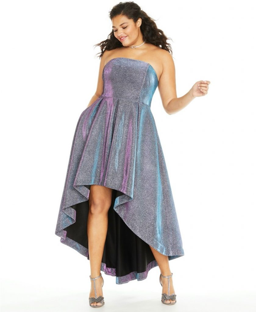 THE SPEECHLESS TRENDY PLUS SIZE IRIDESCENT METALLIC HIGH-LOW DRESS