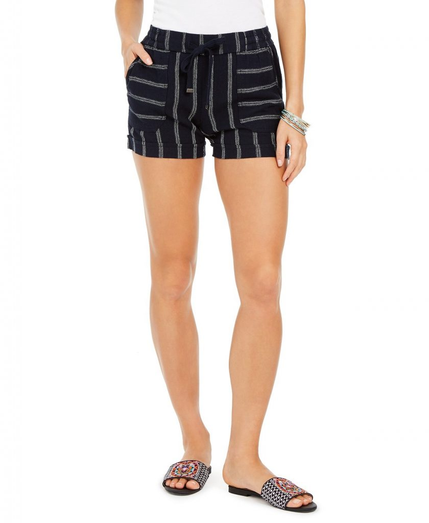 THE STYLE & CO PLUS SIZE NAVY STRIPE LINEN SHORTS
