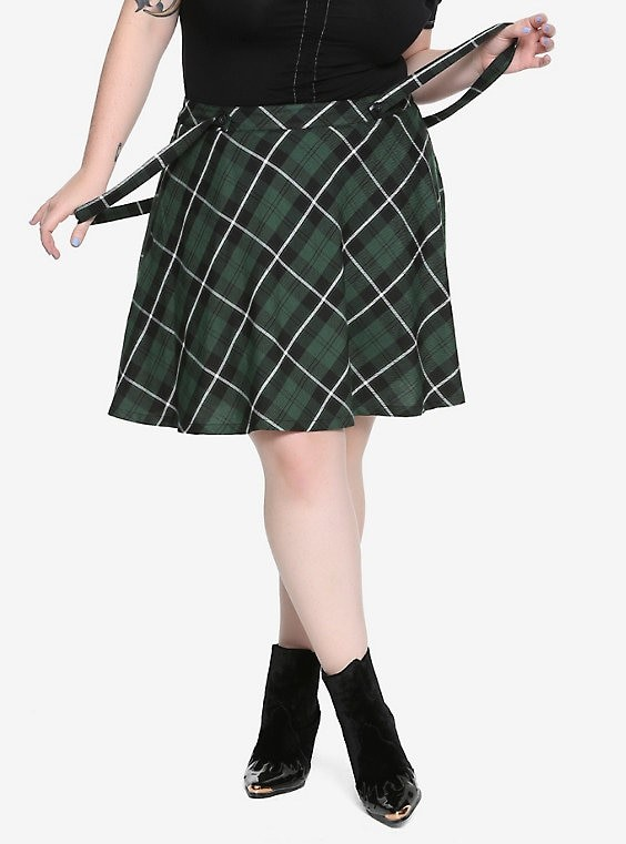 THE TRIPP GREEN PLAID SUSPENDERS SKIRT
