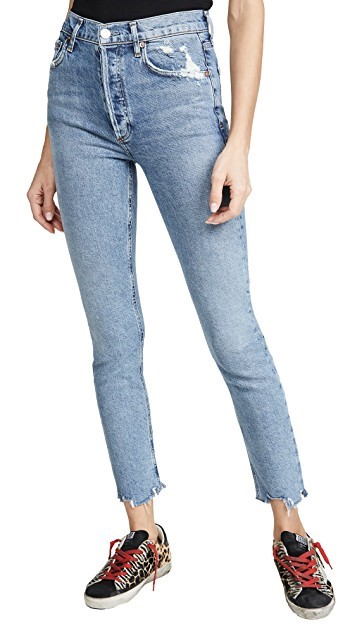 A pair of skinny cropped denim