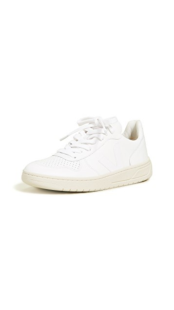 A pair of white sneakers
