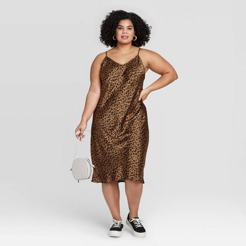 THE A NEW DAY BROWN PLUS SIZE LEOPARD PRINT SLEEVELESS SATIN SLIP DRESS