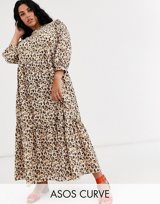 THE ASOS DESIGN CURVE TIERED MAXI DRESS IN LEOPARD PRINT