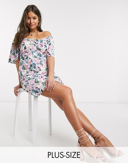 THE FASHION UNION PLUS SKATER DRESS IN FLORAL