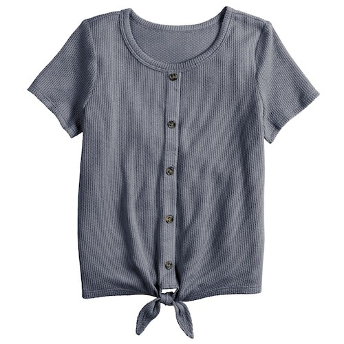 THE GIRLS PLUS SIZE SO TIE-FRONT BUTTON-UP THERMAL TEE