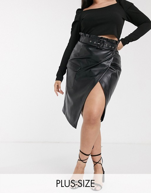 THE IN THE STYLE PLUS X BILLIE FAIERS ASYMMETRIC PENCIL SKIRT