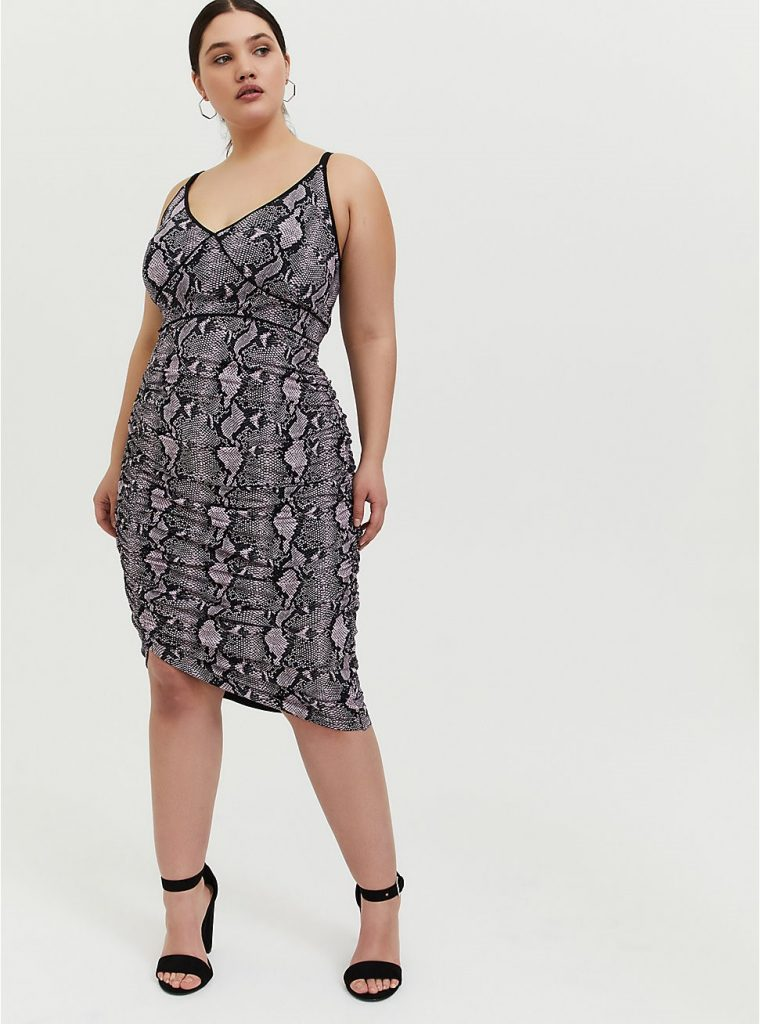 THE MAUVE PINK SNAKESKIN PRINT STUDIO KNIT RUCHED BODYCON DRESS