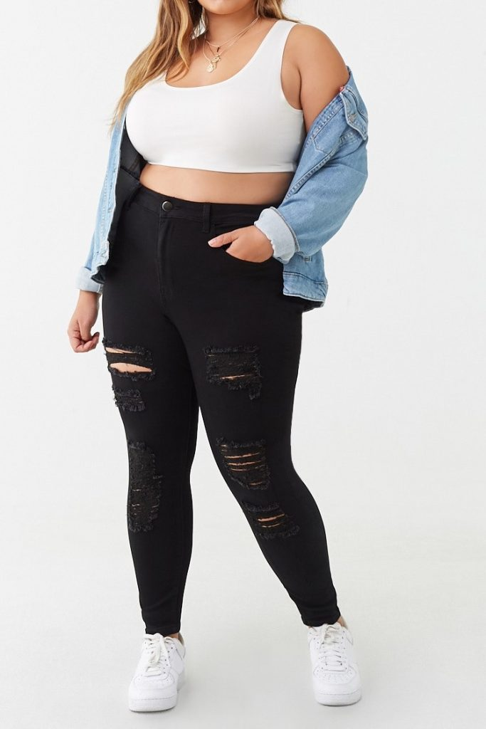 THE PLUS SIZE DISTRESSED SKINNY JEANS