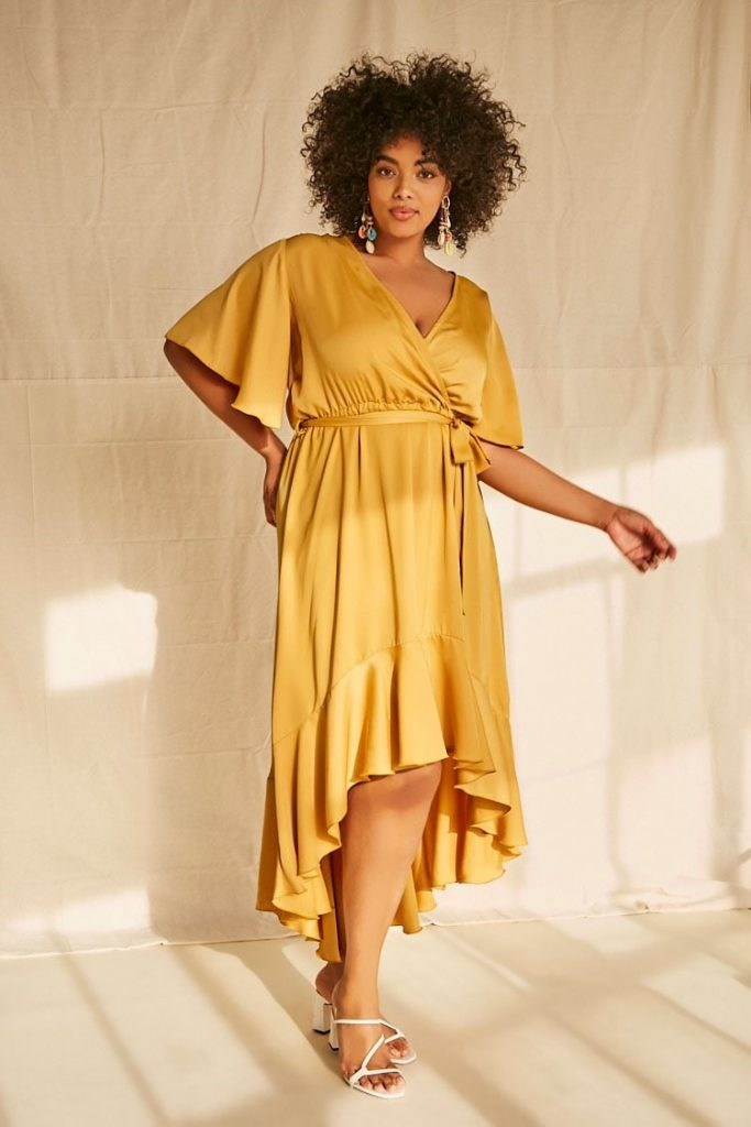 THE PLUS SIZE SATIN HIGH-LOW DRESS