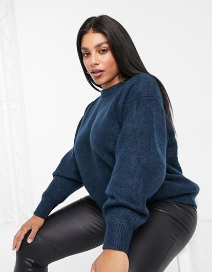 THE ASOS DESIGN CURVE CREW NECK FLUFFY OVERSIZED SWEATER