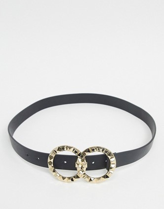 THE ASOS DESIGN CURVE DOUBLE CIRCLE FACETED DETAIL WAIST AND HIP JEANS BELT
