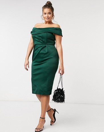 ASOS Design Curve Drape Fallen Shoulder Midi Pencil Dress in Forest Green - $72.00
