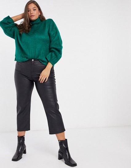 THE ASOS DESIGN CURVE FLUFFY BOXY HIGH NECK SWEATER IN GREEN