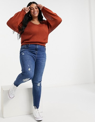 THE ASOS DESIGN CURVE V-NECK SWEATER WITH VOLUME SLEEVES