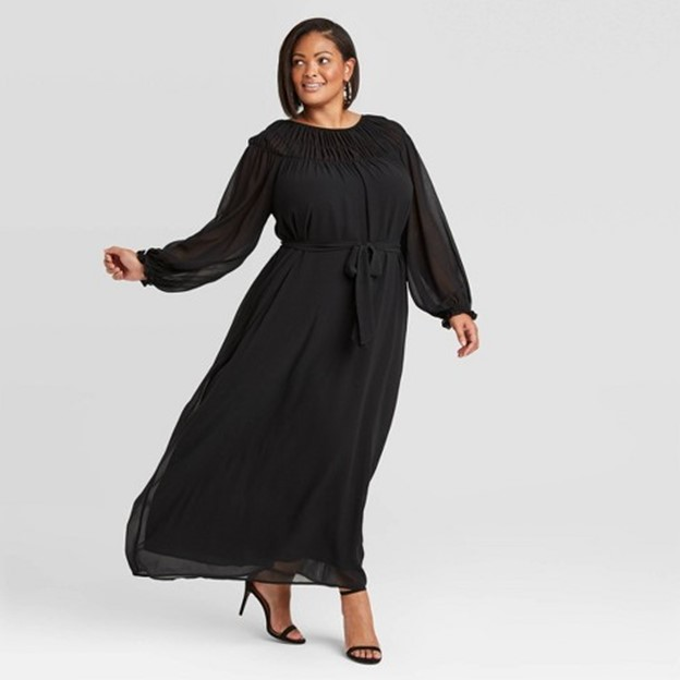 Target Ava & Viv Women's Plus Size Long Sleeve Smocked Dress in Black - $29.99