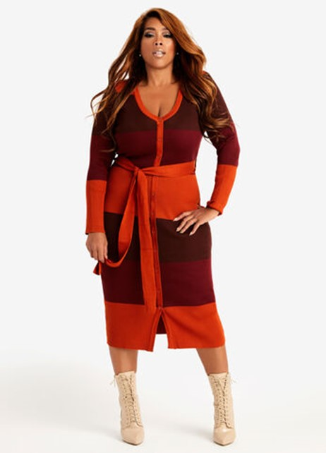 Ashley Stewart Belted Stripe Button-Down Sweater Dress in Pomegranate - $59.50