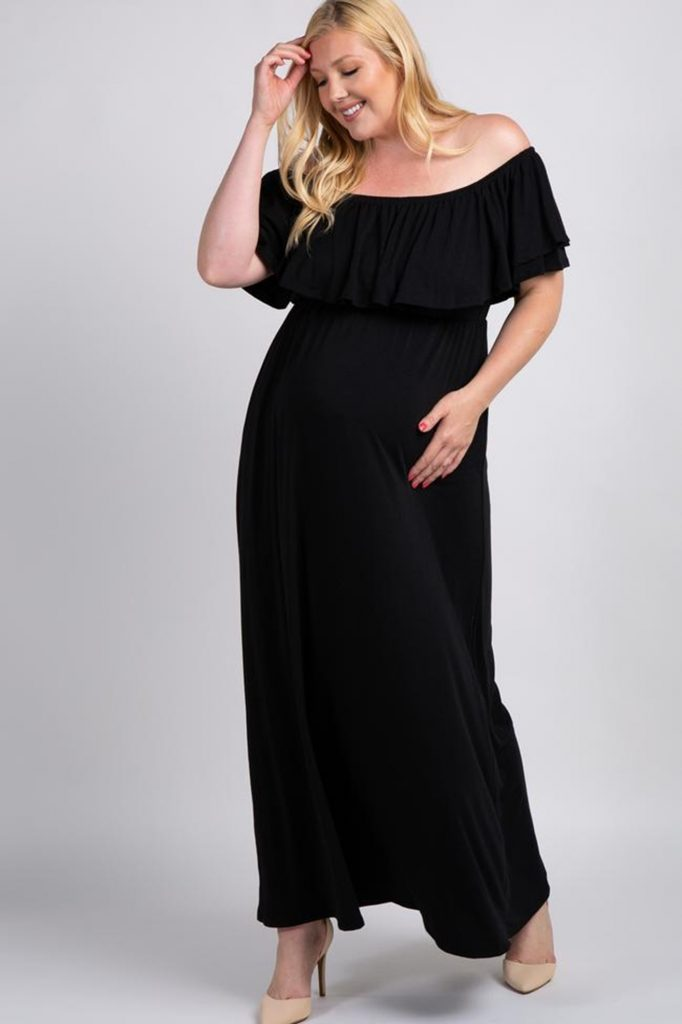 THE BLACK OFF THE SHOULDER RUFFLE TRIM PLUS MATERNITY MAXI DRESS