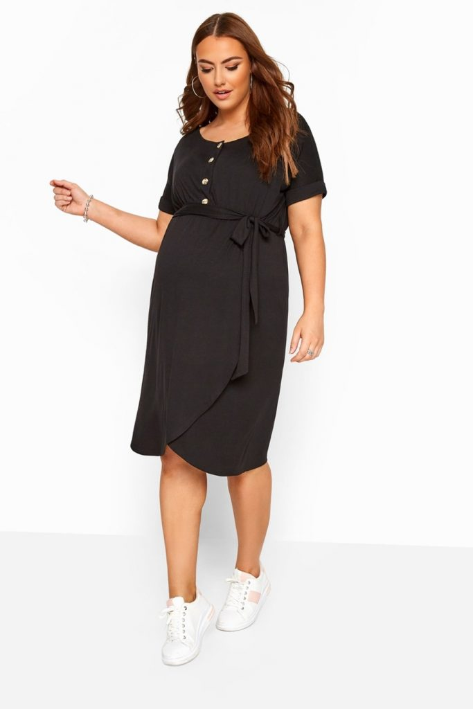 THE BUMP IT UP MATERNITY BLACK HORN BUTTON WRAP DRESS