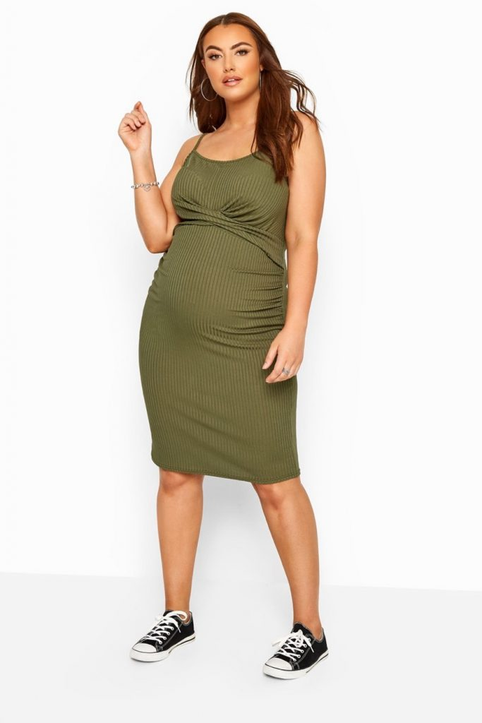 THE BUMP IT UP MATERNITY KHAKI GREEN RIBBED TWIST BODYCON DRESS