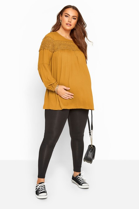Yours Clothing Bump It Up Maternity Mustard Yellow Lace Insert Top - $39.00