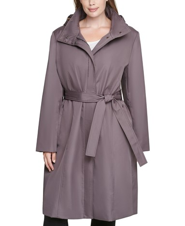 THE CALVIN KLEIN PLUS SIZE HOODED BELTED RAINCOAT