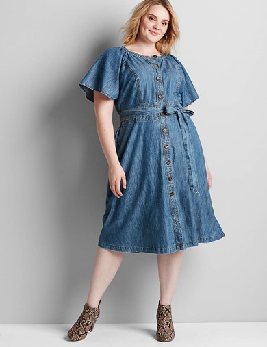 Lane Bryant Chambray Button-Down Fit & Flare Dress - $79.95