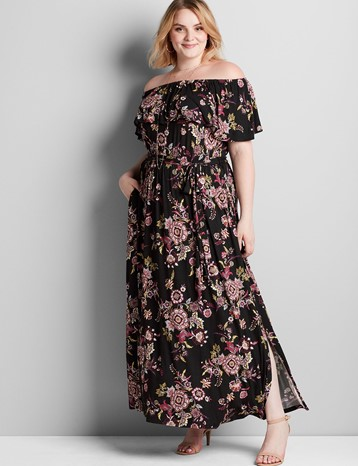Lane Bryant Convertible Paisley Maxi Dress in Black Floral - $69.96