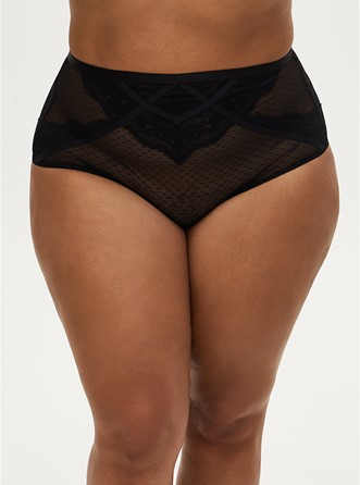 THE DOT MESH & LACE STRAPPY CAGED HIGH WAIST BRIEF PANTY